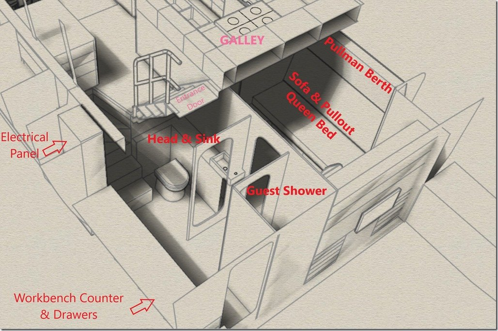 Corridor Head Shower Guest Cabin Layout labelled
